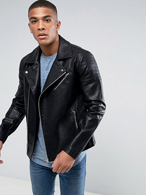 Only & Sons Faux Leather Biker Jacket