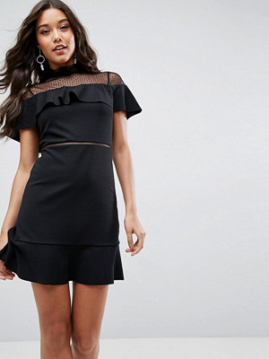 ASOS Skater Dress With Dobby Mesh Panel