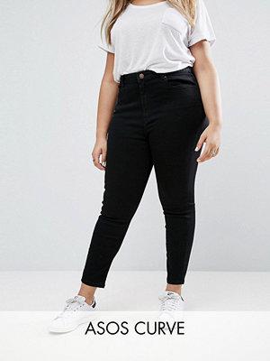 ASOS Curve Ridley Svarta skinny jeans med hög midja