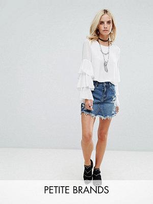 Glamorous Petite Denim Mini Skirt With Embroidery