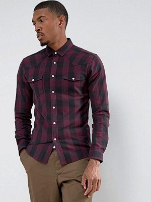 ASOS Skinny Check With Western Styling In Purple