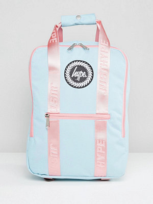 Hype ryggsäck Tote Backpack in Blue With Pink Straps