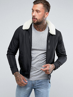 ASOS Bomber Jacket With Borg Collar In Black