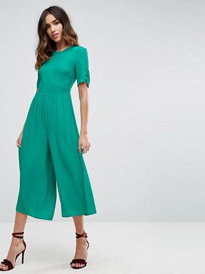 ASOS Jumpsuit i tea-modell med ryschade ärmar Jadegrön