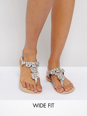 ASOS FENDER Wide Fit Leather Embellished Flat Sandals