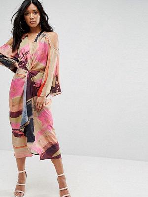 ASOS Abstract Print Kimono Midi Dress