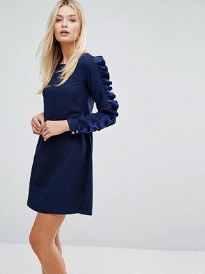 Closet London Closet Long Sleeved Shift Dress with Frill Detail