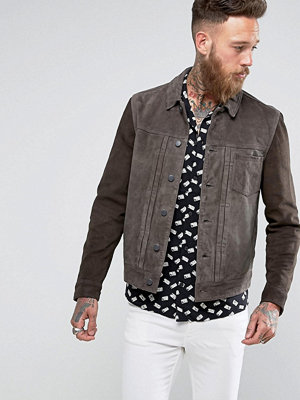 AllSaints Leather Jacket With Contrast Sleeves