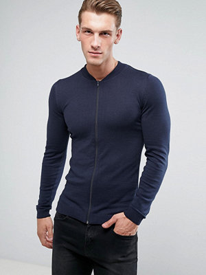 ASOS Knitted Muscle Fit Bomber Jacket In Navy