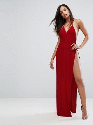 Club L Slinky Wrap Front Maxi Dress