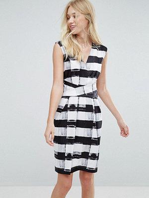 Liquorish Stripe Midi Pencil Dress - Black and white