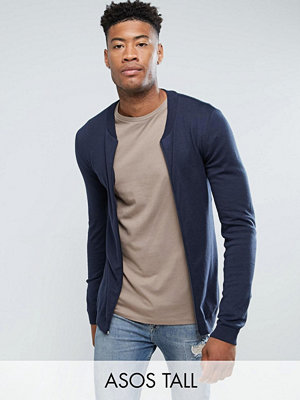 ASOS TALL Knitted Muscle Fit Bomber Jacket In Navy