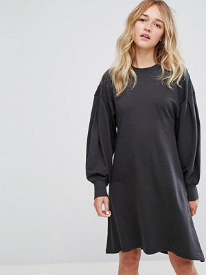 Monki Skater Midi Sweat Dress - Washed black