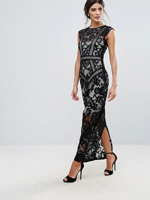 Little Mistress Lace Panelled Maxi Dress
