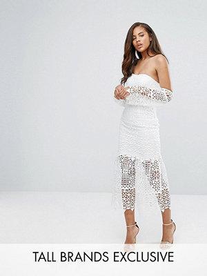 Jarlo Tall Bardot Cutwork Lace Midi Dress