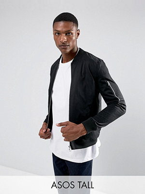 ASOS TALL Bomber Jacket With Sleeve Zip In Black