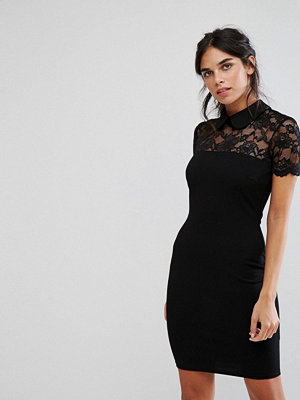 City Goddess Collared Pencil Dress With Lace Yoke