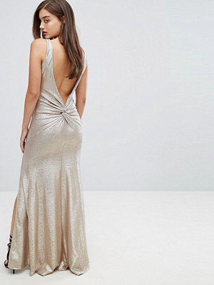 TFNC Highneck Metallic Maxi Dress With Back Knot