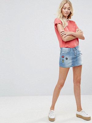 Blend She Blend Minikjol i denim med färgglada applikationer Light blue washed