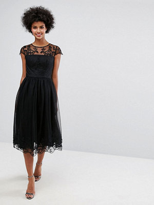 Chi Chi London Premium Lace Midi Prom Dress with Lace Neck