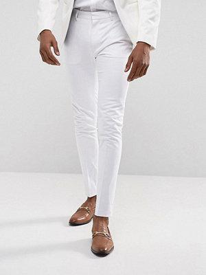 Byxor - ASOS Super Skinny Smart Trousers In White Cotton Sateen