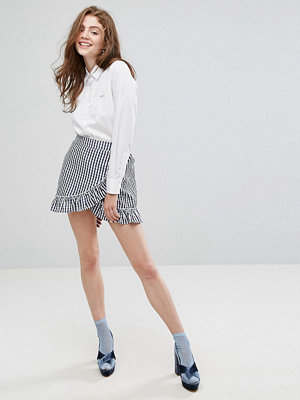 Willow and Paige Wrap Front Mini Skirt With Ruffle Trim In Gingham