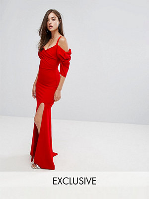 TFNC Fishtail Maxi Dress With 80'S Off Shoulder