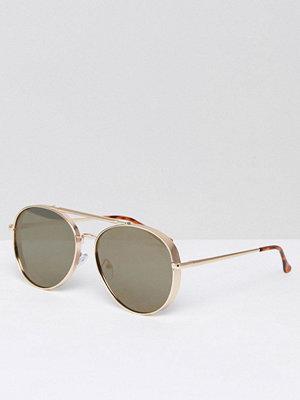Solglasögon - ASOS Aviator Sunglasses In Matte Gold And Side Cap Detail