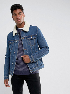 ASOS Skinny Denim Jacket With Borg Collar in Mid Wash
