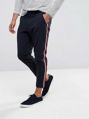 Byxor - ASOS Tapered Trousers In Navy With Side Taping