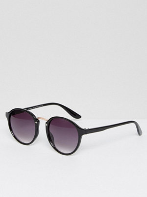 7X Rose Gold Bar Detail Round Sunglasses