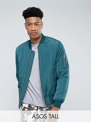 ASOS TALL Bomber Jacket with MA1 Pocket in Bottle Green