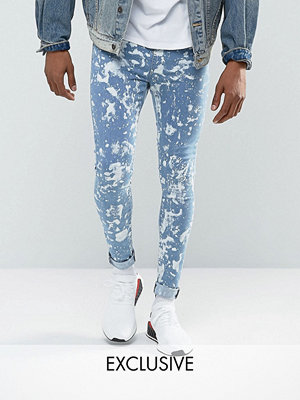 Jeans - Jaded London Super Skinny Jeans In Mid Blue With Bleaching