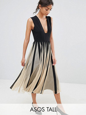 Festklänningar - Asos Tall Mesh Fit and Flare Square Plunge Midi Dress