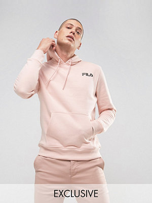 Street & luvtröjor - Fila Vintage Fila Black Hoodie With Small Logo In Pink Exclusive To ASOS