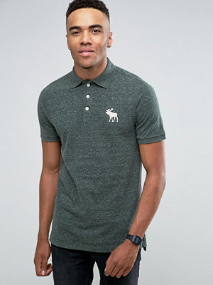 Pikétröjor - Abercrombie & Fitch Pique Polo Slim Fit Exploded Tonal Icon in Green Marl