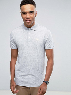 Pikétröjor - Abercrombie & Fitch Pique Polo Slim Fit Exploded Tonal Icon in Grey Marl