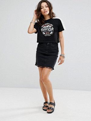 Kjolar - New Look Denim Mom Skirt With Pom Trim