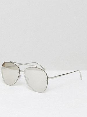 Solglasögon - ASOS Aviator Sunglasses In Silver With Silver Mirror Lens