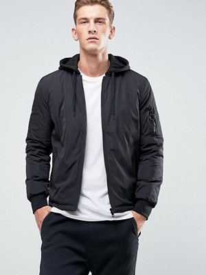 New Look MA1 Bomber With Jersey Hood In Black