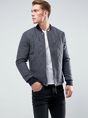 New Look Quilted Wool Bomber In Navy