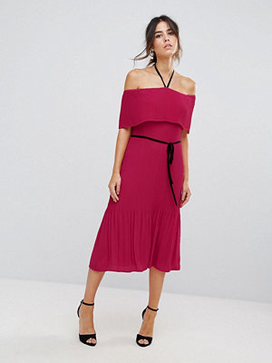 Warehouse Off Shoulder Pleated Tie Neck Dress