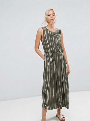 Selected Striped Dress - Green white stripe
