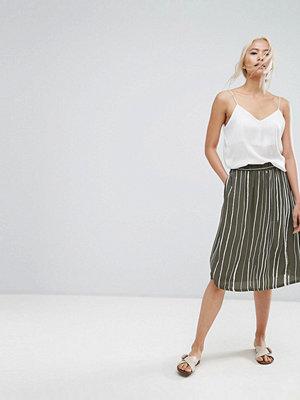 Selected Striped Skirt - Green white stripe