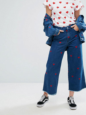 Lazy Oaf Wide Leg Denim Love Jeans With All Over Hearts Co-Ord