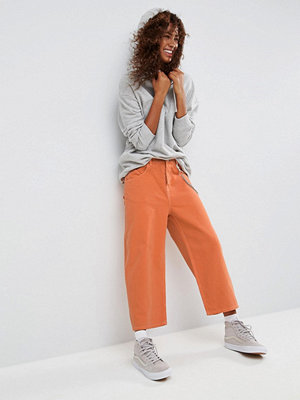 ASOS Crop Skater Jeans in Washed Orange with Contrast Stitch