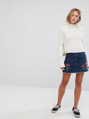 Monki Embroidered Floral Denim Mini Skirt