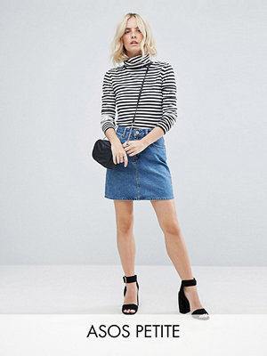 ASOS Petite ASOS DESIGN Petite denim original high waisted skirt in midwash blue - Midwash blue