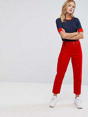 Jeans - Monki Taiki Red Crop Jeans