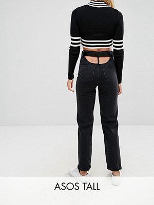 Asos Tall Svarta urtvättade jeans med raka ben